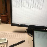 集計表、紙とデータ