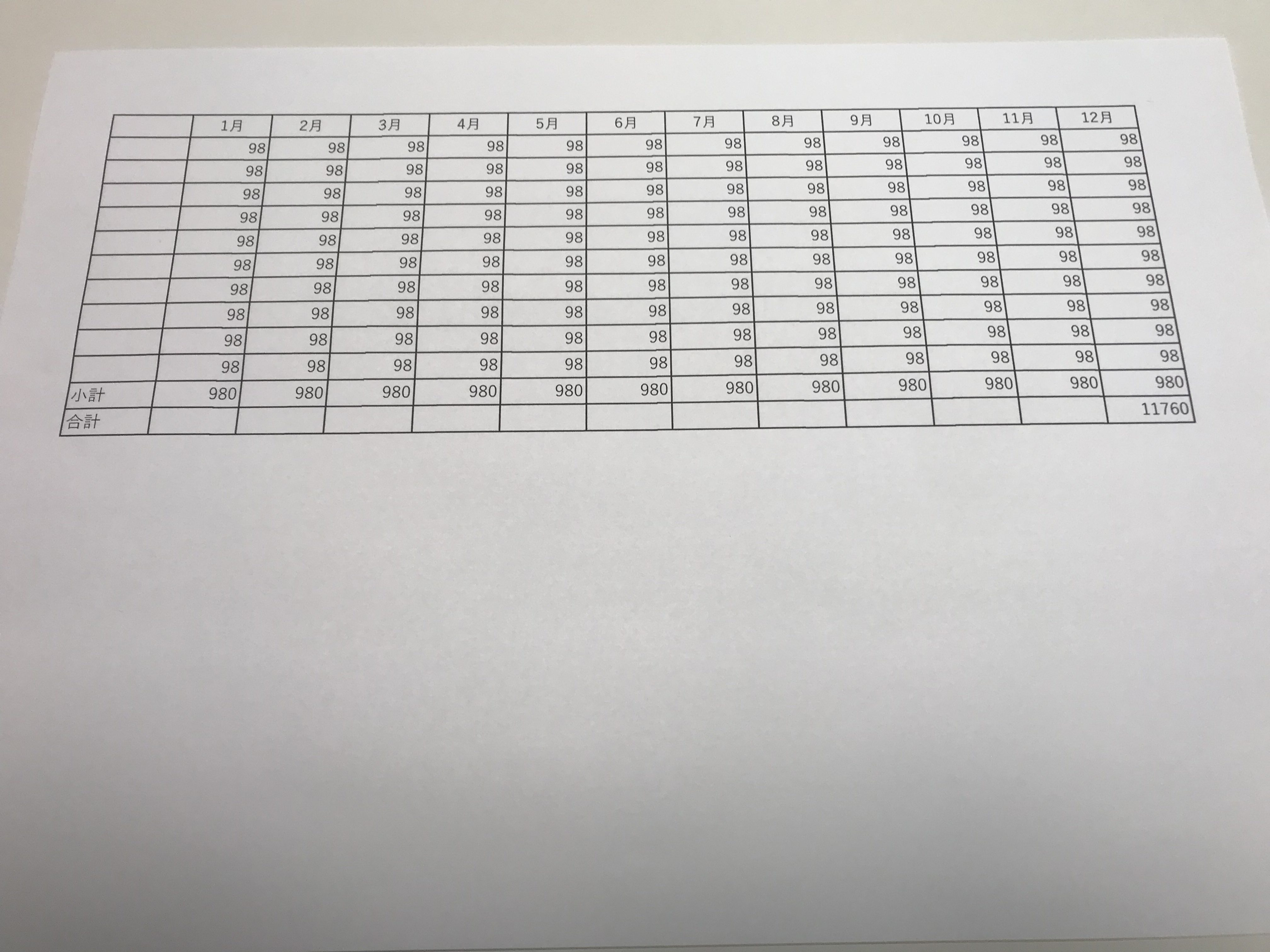 集計表の紙
