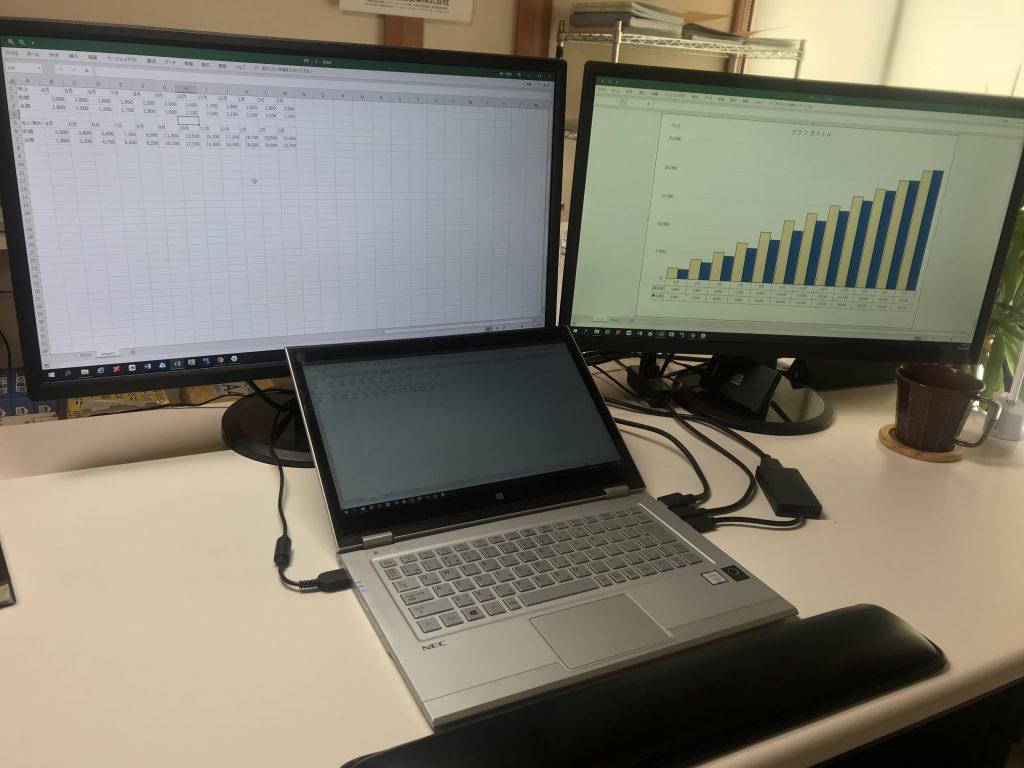 Excelは別々のシートを同時に表示可能 デュアルディスプレイを使えば